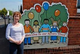 Picture of Head Teacher outside Newbridge Nursery School
